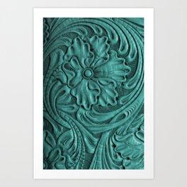 Teal Flower Tooled Leather Art Print