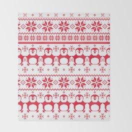 Red Scandinavian Penguin Holiday Design Throw Blanket