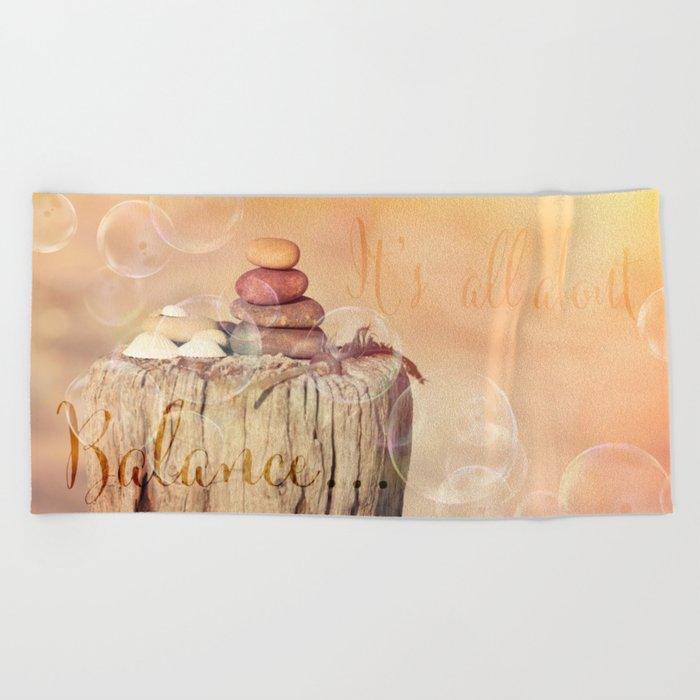 Balance Stone Cairn Sunset  Bubbles Light Beach Towel