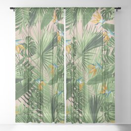Bird of Paradise Jungle Leaves Dream #2 #tropical #decor #art #society6 Sheer Curtain