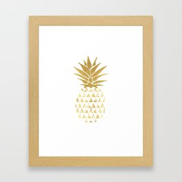 white & gold pineapple Framed Art Print