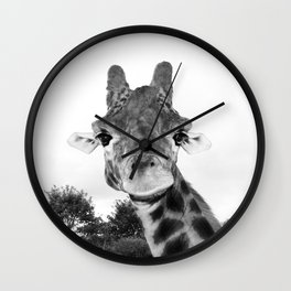 Giraffe. B+W. Wall Clock