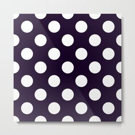 Geometric Candy Dot Circles - White on Black Metal Print