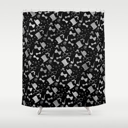 Hipster Elements Pattern silver on black Shower Curtain