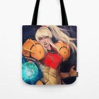 samus Tote Bags featuring Samus  by ShinoX