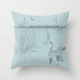 Oriental Exotic Heron & Birds on a Lake Print Throw Pillow