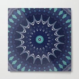Navy Blue Teal Mandala Design Metal Print