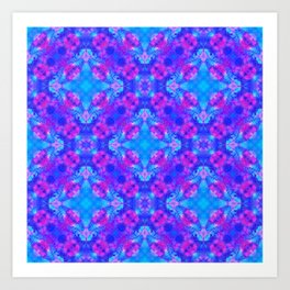 Hand drawn seamless pattern with folk national motives. Bright colored abstract wallpaper. Seamless Art Print