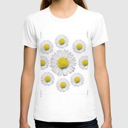 ALL WHITE SHASTA DAISY FLOWERS ART T-shirt