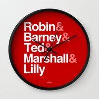 how i met your mother Wall Clocks featuring How I Met Your Mother Typography by Universo do Sofa - Artes & Etecetera