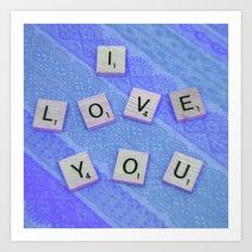 I Love You Darling in Blue Art Print