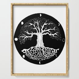 black and white tree of life with moon phases and celtic trinity knot Serving Tray