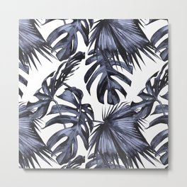 Classic Palm Leaves Navy Blue Metal Print