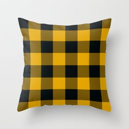 Yellow & Black Buffalo Plaid Throw Pillow
