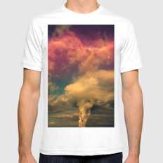 Space Clouds MEDIUM White Mens Fitted Tee