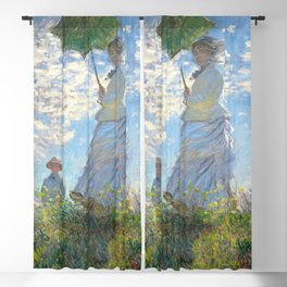 Claude Monet Woman with a Parasol - Madame Monet and Her Son 1875 Original Artwork Reproduction Design, Tshirts, Posters, Jerseys Blackout Curtain
