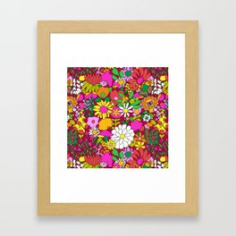 60's Groovy Garden in Rust Framed Art Print