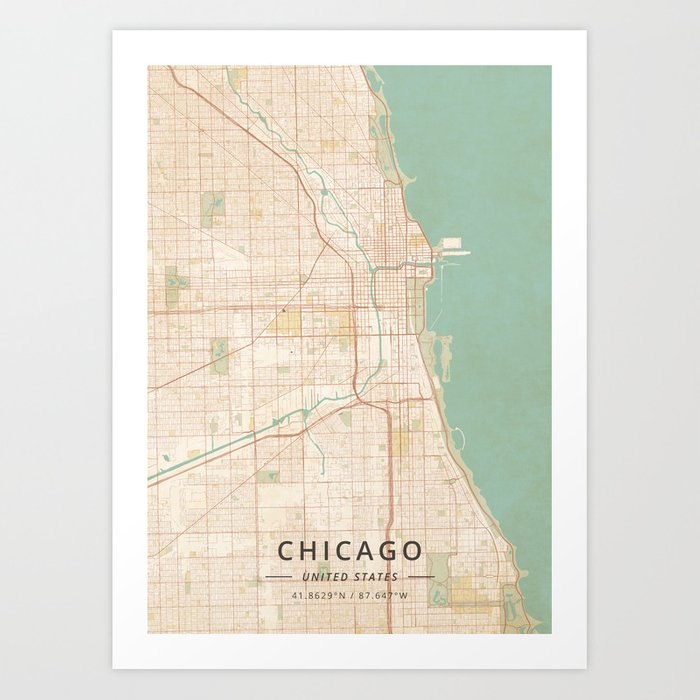 Chicago, United States - Vintage Map Kunstdrucke