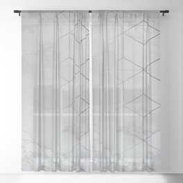 Silver Platinum Geometric White Mable Cubes Sheer Curtain