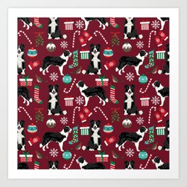 Border Collie christmas stockings presents holiday candy canes dog breed pattern Art Print