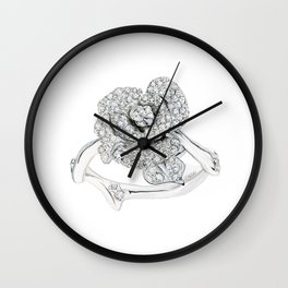 Silver Rose Ring Wall Clock