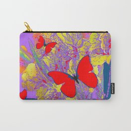 ABSTRACT RED BUTTERFLY TEAL  LILAC YELLOW FLORALS Carry-All Pouch