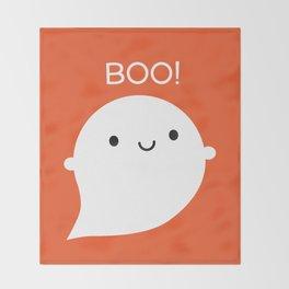 Boo! Kawaii Halloween Ghost Throw Blanket