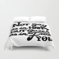 queer Duvet Covers featuring Not gay as in happy but queer as in fuck you by Tokiwooki