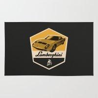 lamborghini Area & Throw Rugs featuring Lamborghini Miura by Liviu Antonescu
