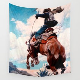"Vintage Western Painting ""Bucking"" by N C Wyeth Wall Tapestry"