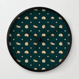 Roly Poly Party! Peach on Blue Wall Clock