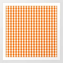 Classic Pumpkin Orange and White Gingham Check Pattern Art Print