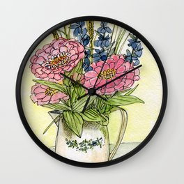 Pink Zinnias in Pitcher Watercolor Wall Clock