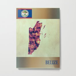 Belize Map with Flag Metal Print