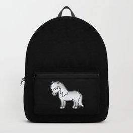 Grey Shetland Pony Cute Cartoon Illustration Backpack