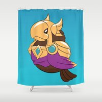 league of legends Shower Curtains featuring League of Legends: Azir by Birbles