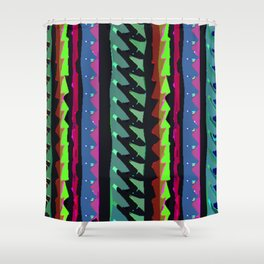 TROPICAL THUNDER 1980'S iNSPIRED MULTICOLOR PRINT Shower Curtain