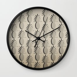 Pineapple Lines - khaki Wall Clock