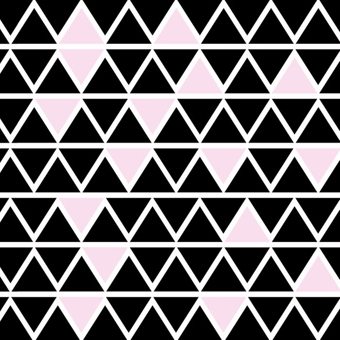 Abstract geometric triangle pattern- pink-black Duvet Cover
