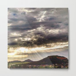 Beams over Butte Metal Print