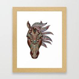 Boho geometric tribal horse animal graphic design Framed Art Print