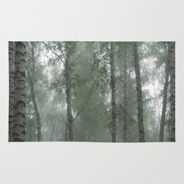 Birch forest in the fog Rug