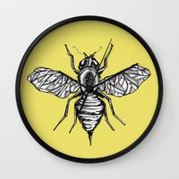 bee Wall Clocks featuring Bee by Aubree Eisenwinter