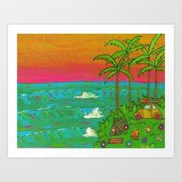 VW Beatle Bug Surf Paradise Adventure Art Print