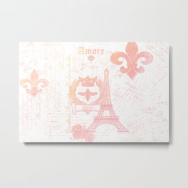 Paris: La Tour Eiffel Peach-ish Metal Print