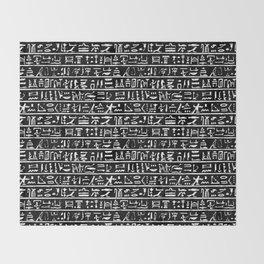 Egyptian Hieroglyphics // Black Throw Blanket