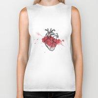 anatomical heart Biker Tanks featuring Anatomical heart - Art is Heart  by AdaLovesTheRain