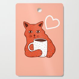 Peach Coffee Kitten Cutting Board
