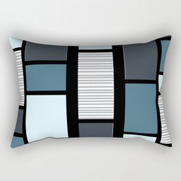 Mid Century Modern Panels Slate Rectangular Pillow
