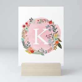 Flower Wreath with Personalized Monogram Initial Letter K on Pink Watercolor Paper Texture Artwork Mini Art Print